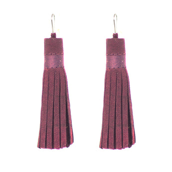 Plum Leather Tassel Earrings