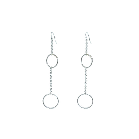 Sacreflux Sterling silver Double Hoop and Chain Earrings