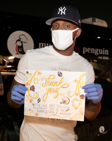 Casey Hayward, United Way OC, My Healthy Penguin Thanksgiving Drive Thru Donation