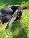 Olamic Cutlery Mid-Tech Wayfarer 247T: with Jeweled Bronze Handle and Giraffe Bone Inlay