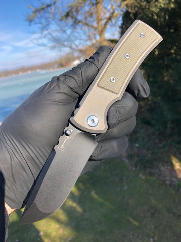Chaves Ultramar Redencion Street: Drop Point, Green Micarta, PVD
