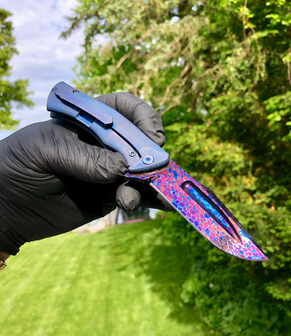 Michael Zieba Dragonskin Damascus Mini S5 with Skulls