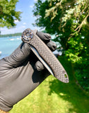 Curtiss Custom Knives Cruze Flipper: Damasteel Blade Carbon Fiber and Torched Ti