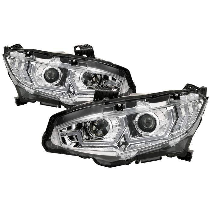Spyder Signature Projector Headlights - w/LED Sequential Turn Signal Lights - H1 - Chrome