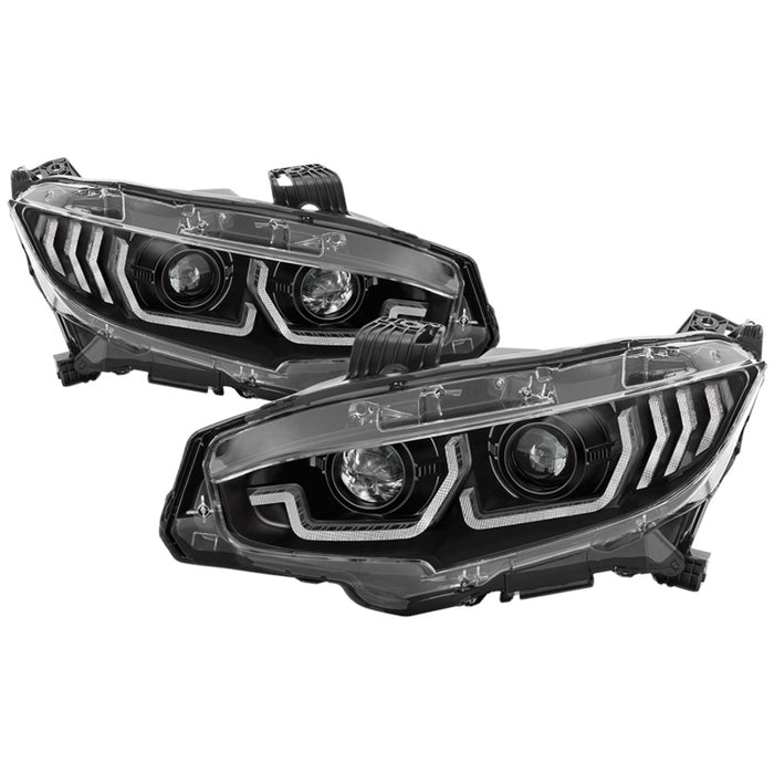 Spyder Signature Projector Headlights - w/LED Sequential Turn Signal Lights - H1 - Black