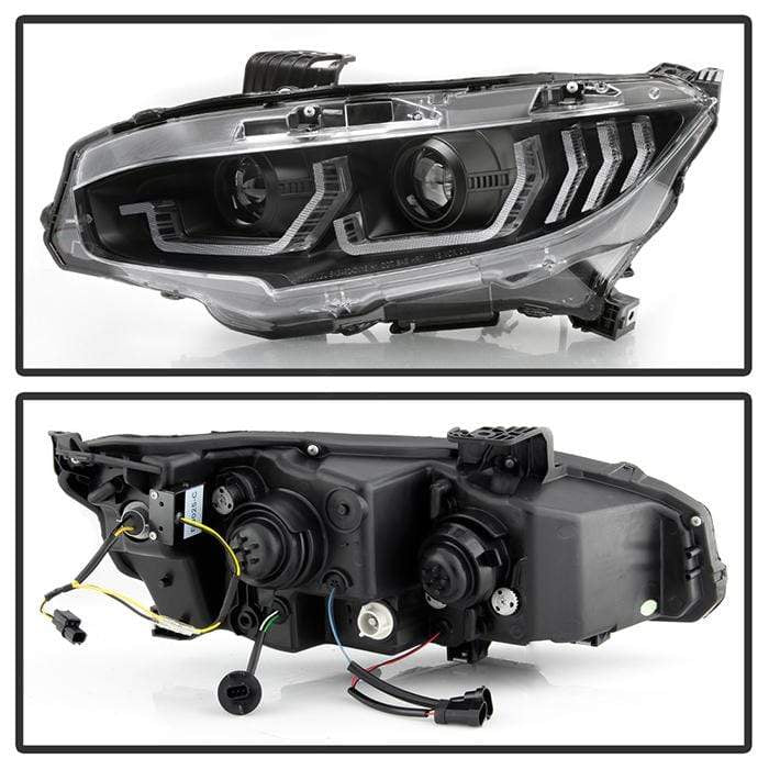 Spyder Apex Projector Headlights - w/LED Sequential Turn Signal Lights - LED - Black