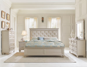 Crystal Tufted Silver Finish Bi-Cast Vinyl Bedroom Set