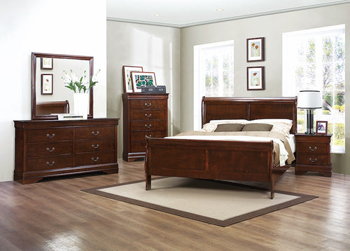 Burnished Brown Cherry Sleigh Bedroom Set
