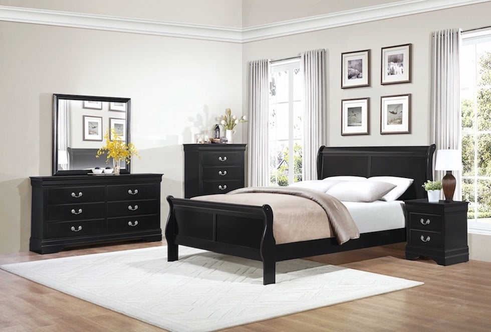Black Raven Sleigh Bedroom Set