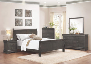 Stained Distressed Gray Sleigh Bedroom Set