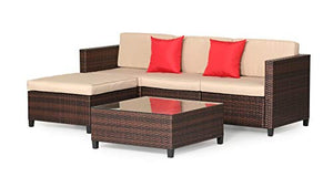 Outroad Wicker Patio Furniture Set Outdoor (5-Piece) - All Weather Brown Striped Wicker Sectional Sofa with Beige Cushions, Red Pillows, Waterproof Cover & Furniture Clips