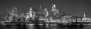 Philadelphia Skyline 2018 PHOTO PRINT UNFRAMED NIGHT from East Black & White BW Philly City Downtown 11.75 inches x 36 inches Photographic Panorama Print Photo Picture Standard Size