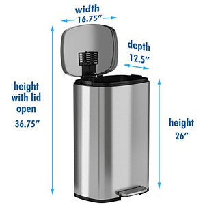 iTouchless SoftStep 13.2 Gallon Step Trash Can with Odor Filter & Inner Bucket, Stainless Steel Step Pedal Garbage Bin for Office and Kitchen, 50 Liter, Soft and Quiet Lid Close