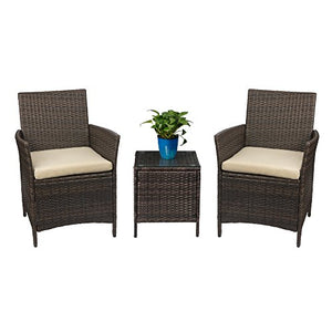 Devoko Patio Porch Furniture Set 3 Piece PE Rattan Wicker Chairs Beige Cushion with Table Outdoor Garden Furniture Sets (Brown)