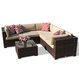 6 Piece Patio Furniture Outdoor Sectional Set, All Weather PE Brown Wicker Patio Set Sofas with Glass Coffee Table, Steel Frame, Beige Cushions