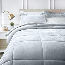 Load image into Gallery viewer, AmazonBasics Micromink Sherpa Comforter Set - Ultra-Soft, Fray-Resistant -  Full/Queen, Grey