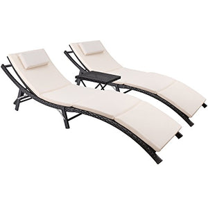 Devoko Patio Chaise Lounge Sets Outdoor Rattan Adjustable Back 2 Sets Cushioned Patio Folding Chaise Lounge with Folding Table (Black)