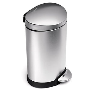 simplehuman 6 Liter / 1.6 Gallon Stainless Steel Compact Semi-Round Bathroom Step Trash Can, Brushed Stainless Steel
