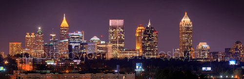 Atlanta Skyline PHOTO PRINT UNFRAMED NIGHT COLOR Downtown Midtown City 11.75 inches x 36 inches Photographic Panorama Poster Picture Standard Size