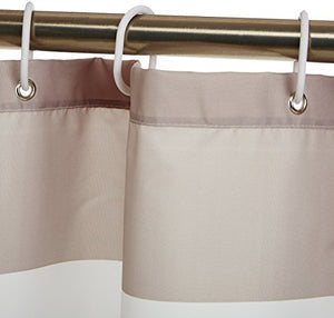 AmazonBasics Shower Curtain with Hooks (Treated to Resist Deterioration by Mildew) - 72 x 72 inches, Grey Stripe