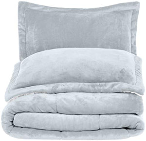 AmazonBasics Micromink Sherpa Comforter Set - Ultra-Soft, Fray-Resistant -  Full/Queen, Grey