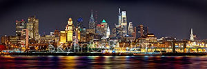 Philadelphia Skyline 2018 PHOTO PRINT UNFRAMED NIGHT from East COLOR Philly City Downtown 11.75 inches x 36 inches Photographic Panorama Print Photo Picture Standard Size