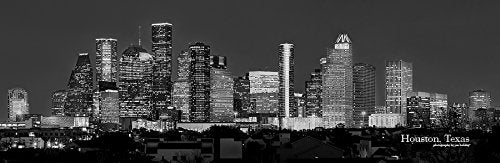Houston Skyline PHOTO PRINT UNFRAMED NIGHT Black & White BW City Downtown 11.75 inches x 36 inches Texas Photographic Panorama Poster Picture