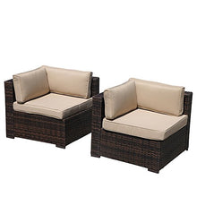 Load image into Gallery viewer, 6 Piece Patio Furniture Outdoor Sectional Set, All Weather PE Brown Wicker Patio Set Sofas with Glass Coffee Table, Steel Frame, Beige Cushions