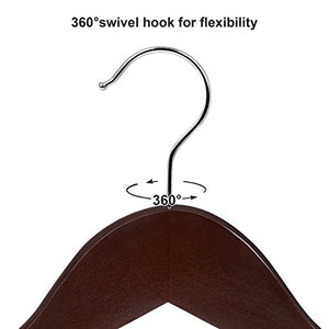 SONGMICS Wood Hangers, 20 Pack Selected Solid Wooden Hangers with Smooth Finish and Human Shoulder Design, Brown UCRW05K-20