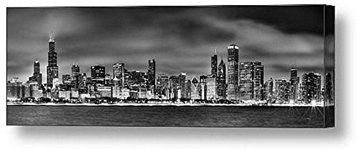 CANVAS Chicago Skyline at NIGHT Black & White BW 16 inches x 46 inches City Downtown Photographic Panorama Print Photo Picture