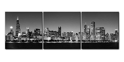 Canvas Print Wall Art Painting For Home Decor Black & White Chicago Skyline Night Buildings Cityscape Coastline 3 Pieces Panel Paintings Artwork The Picture City Pictures Photo Prints On Canvas