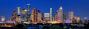 Houston Skyline PHOTO PRINT UNFRAMED NIGHT Color City Downtown 11.75 inches x 36 inches Texas Photographic Panorama Poster Picture