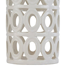 "Load image into Gallery viewer, Stone & Beam Ceramic Geometric Table Lamp, 25""H, With Bulb, White Shade"