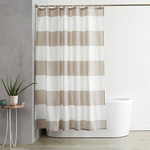 Load image into Gallery viewer, AmazonBasics Shower Curtain with Hooks (Treated to Resist Deterioration by Mildew) - 72 x 72 inches, Grey Stripe