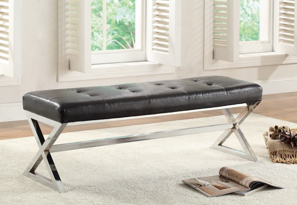 Black Tufted X-Frame Ottoman/Bench