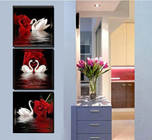 Load image into Gallery viewer, Canvas Wall Art 3 Panels Beautiful Romantic Swans Print on Canvas Red Rose Flowers Painting Decor Stretched Frames for Bedroom Bathroom Ready to Hang