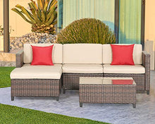 Load image into Gallery viewer, Outroad Wicker Patio Furniture Set Outdoor (5-Piece) - All Weather Brown Striped Wicker Sectional Sofa with Beige Cushions, Red Pillows, Waterproof Cover & Furniture Clips