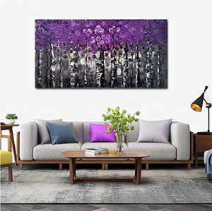 100% Hand Painted Purple Pink Leaves Forest Birch Trees Home Wall Decor Art Oil Paintings Wood Framed Contemporary Abstract Canvas Palette Knife Artwork Landscape 3D Hand-Painted Ready to Hang Gifts