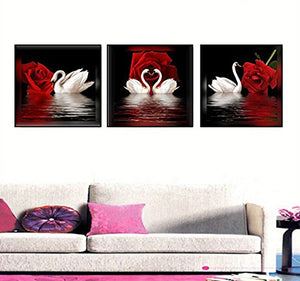 Canvas Wall Art 3 Panels Beautiful Romantic Swans Print on Canvas Red Rose Flowers Painting Decor Stretched Frames for Bedroom Bathroom Ready to Hang