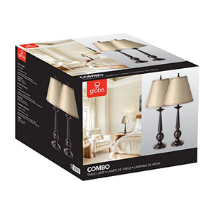 "Globe Electric 12398 Set of Two Table Lamps, Beige Shades, 13"" x 13"" x 27"", Bronze"