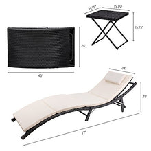 Load image into Gallery viewer, Devoko Patio Chaise Lounge Sets Outdoor Rattan Adjustable Back 2 Sets Cushioned Patio Folding Chaise Lounge with Folding Table (Black)