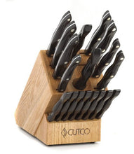 Load image into Gallery viewer, CUTCO Model 2018 Homemaker+8 Set............Includes (8) #1759 Table Knives, (10) Kitchen Knives & Forks, #1748 Honey Oak knife block, #82 Sharpener, and #125 Medium Poly Prep cutting board.......... High Carbon Stainless blades and Classic Brown handles