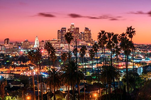 Los Angeles California Skyline at Sunset Photo Art Print Mural Giant Poster 54x36 inch