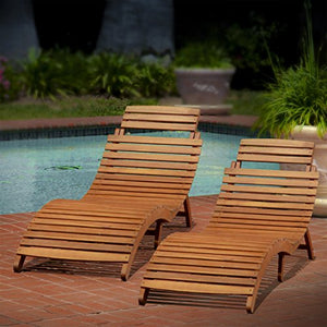 Christopher Knight Home 296060 Lahaina Wood Outdoor Chaise Lounge (Set of 2), Natural Yellow