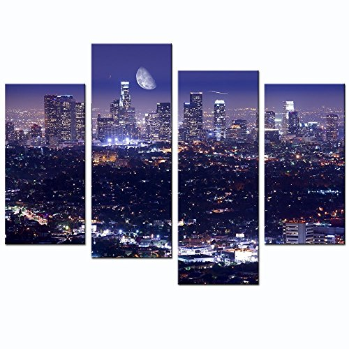 Live Art Decor - Los Angeles Skyline Picture Canvas Prints Modern California Summer Moon Night City Scene Wall Art for Home and Office Wall Decoration,Framed