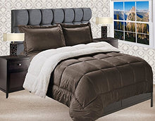 Load image into Gallery viewer, Elegant Comfort  Premium Quality Heavy Weight Micromink Sherpa-Backing Reversible Down Alternative Micro-Suede 3-Piece Comforter Set, Queen, Chocolate Brown