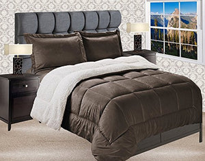 Elegant Comfort  Premium Quality Heavy Weight Micromink Sherpa-Backing Reversible Down Alternative Micro-Suede 3-Piece Comforter Set, Queen, Chocolate Brown