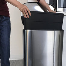 Load image into Gallery viewer, iTouchless SoftStep 13.2 Gallon Step Trash Can with Odor Filter & Inner Bucket, Stainless Steel Step Pedal Garbage Bin for Office and Kitchen, 50 Liter, Soft and Quiet Lid Close