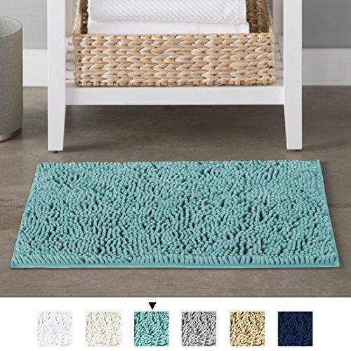 H.VERSAILTEX Microfiber Bath Rugs Chenille Floor Mat Ultra Soft Washable Bathroom Dry Fast Water Absorbent Bedroom Area Rugs, 17 x 24 - Inch, Duck Egg Shell Blue