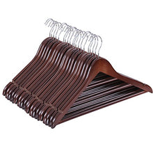 Load image into Gallery viewer, SONGMICS Wood Hangers, 20 Pack Selected Solid Wooden Hangers with Smooth Finish and Human Shoulder Design, Brown UCRW05K-20